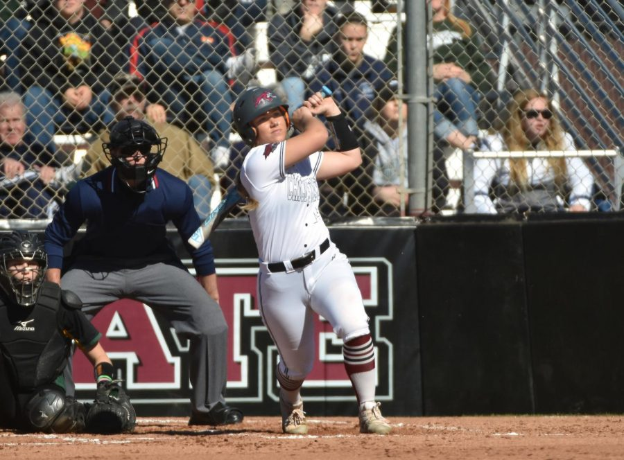 Brooke Larsen up at home plate batting at University Softball field. Photo Courtesy of Sports Information/ Skip Reager