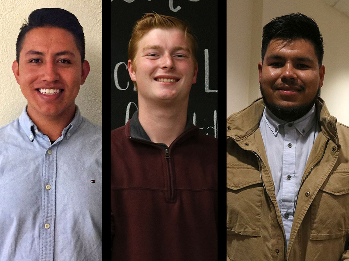 Three of the candidates in the running for the Associated Students body are Alfonso Caldera, Harry Hatch and Gustavo Martir. All three were present at Tuesday night's race highlighting event. Photo credit: Olyvia Simpson & Nate Rettinger