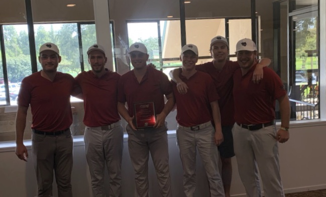 The Chico State men's golf team celebrates after taking first place at the Hanny Stanislaus Invitational Photo Credit: Kelley Sullivan