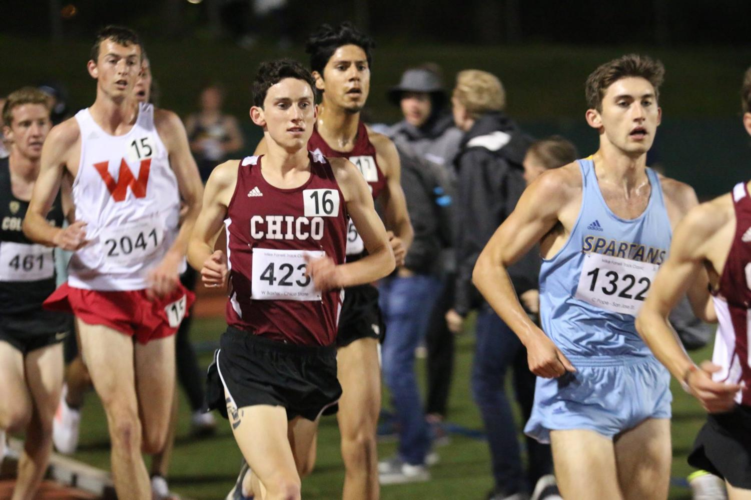 #16 Wyatt Baxter is a dual-sport athlete who runs cross-country in the Fall and the men's 5,000 meters and 10,000 meters for track in the spring.  Image courtesy: Chico sports information
