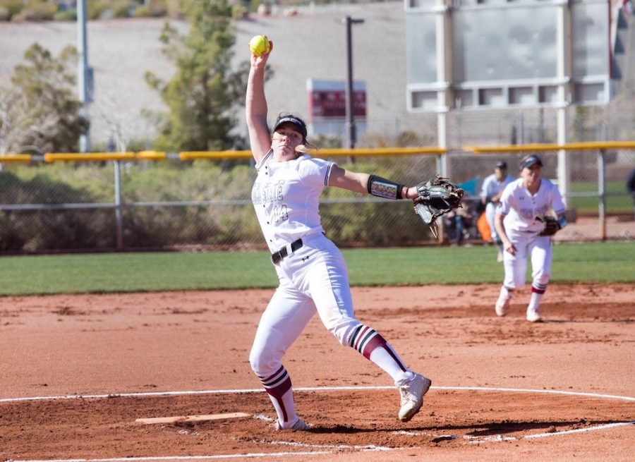 Brooke+Larsen+had+a+rough+night+in+the+Wildcats%27+first+postseason+game.+Going+4.2+innings+allowing+seven+runs%2C+eight+hits+and+walking+three+batters.%0AImage+courtesy+of+Sports+Information