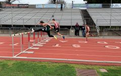 Jason Adams trails behind in 110 men's hurdles at Chico Multi Classic. Photo credit: Lucero Del Rayo-Nava