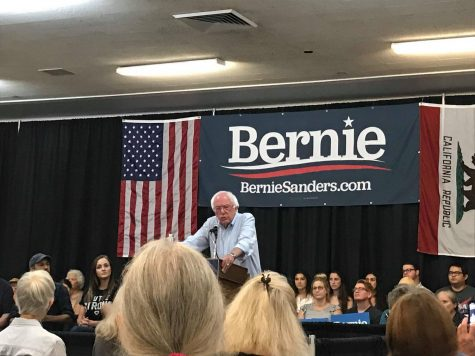 Bernie Sanders addresses the public at the Masonic Lodge in Chico on Thursday.