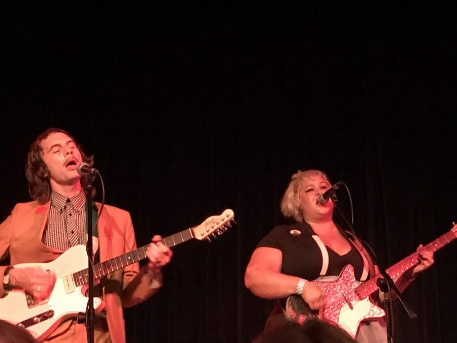 Cody Blanchard and Shannon Shaw performing during Shannon and the Clams' headlining show at the Sierra Nevada Big Room. Photo credit: Angel Ortega