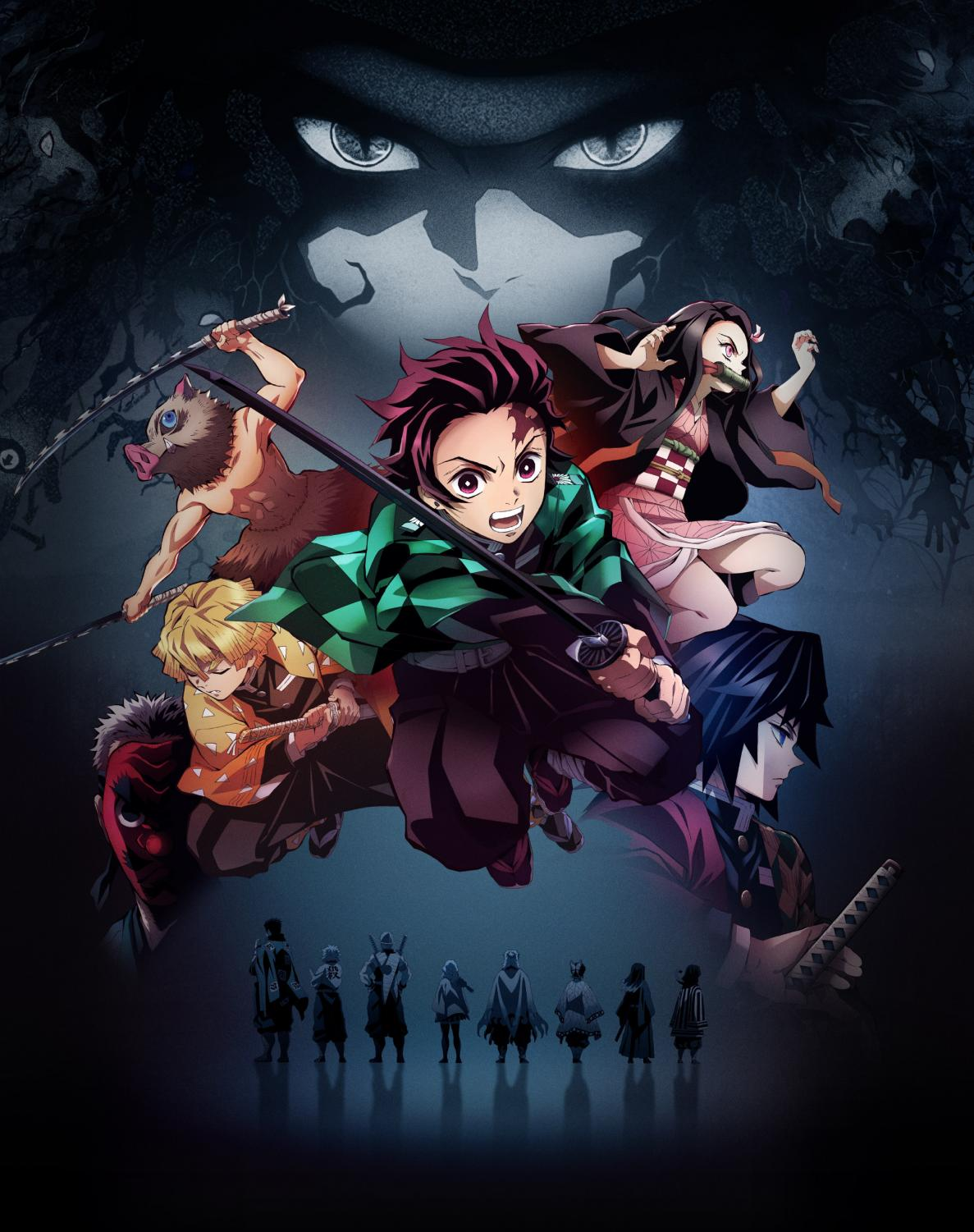 Tanjiro and members of the Demon Slayer Corps in the forefront. While Muzan the first demon is in the background. Courtesy of Crunchyroll.