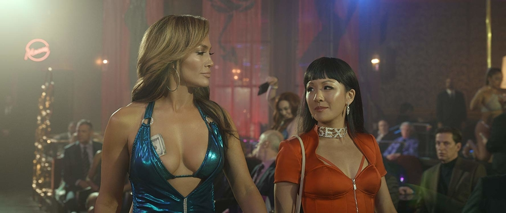 Ramona (Jennifer Lopez) and Destiny (Constance Wu) manipulate and exploit Wall Street brokers to perpetuate their expensive life styles. IMDb website photo.