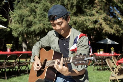 Lenon Padilla plays his guitar at Chico State in October 2018. Photo credit: Daelin Wofford