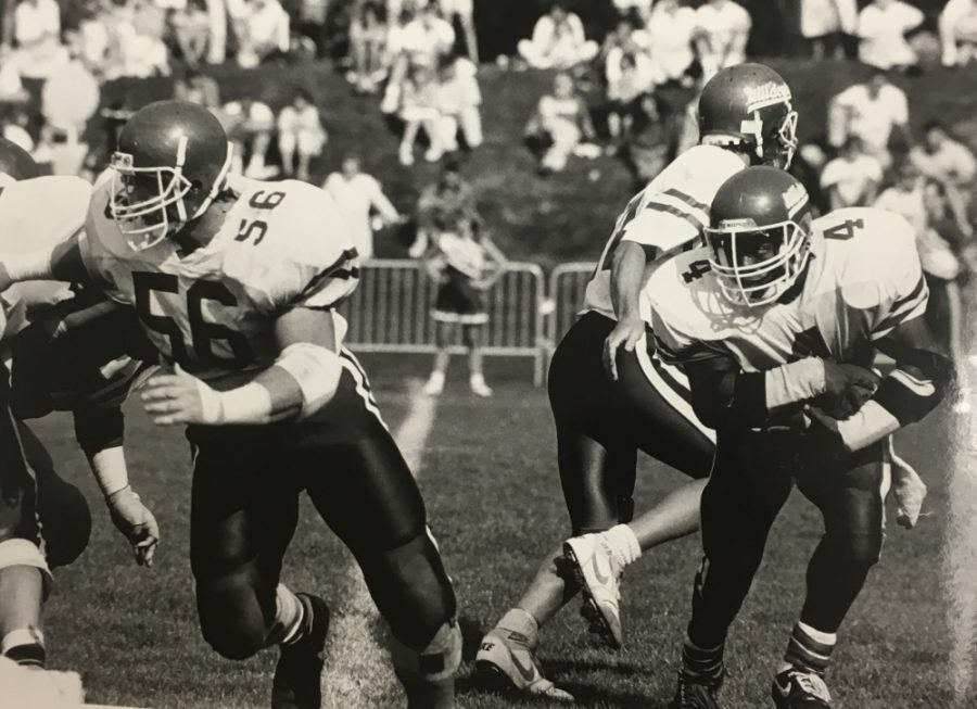 Chico+State+running+back+Glenn+Witherspoon+takes+a+handoff+during+the+1987+season.+Image+from+The+Orion+vault.