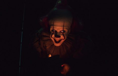 Bill Skarsgård plays as Pennywise the Dancing Clown, a cosmic evil entity that terrorizes and hunts the children of Derry, Maine.