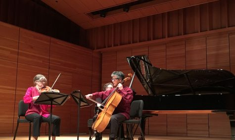 Leighton Fong on cello (right), Bradley Martin on piano, Anna Presler on violin (left) perform at Zingg Recital Hall at Chico State. Photo credit: Melissa Joseph