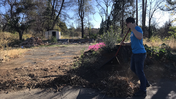 James Mayne raking the leaves in front of his home in Paradise. Photo credit: Jessie Imhoff