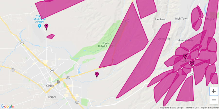 Chico appears to remain unaffected, the purple spots on the map indicate that the power has been shut of for safety reasons, the screenshot was taken around 9:40 p.m. Photo credit: Julian Mendoza &  Photo from PGE Website