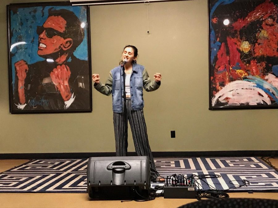 Cassandra Arechiga singing one of her original songs and showing off her amazing vocals. Photo credit: Danielle Kessler