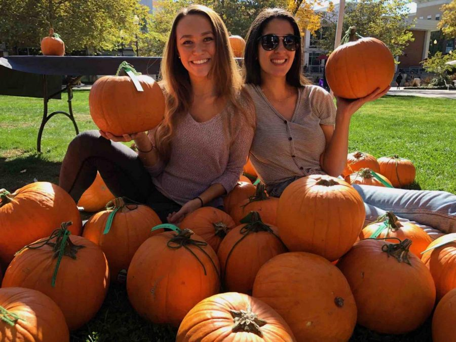 Abbey Linger (left) and Tania Enferadi (right) posing with their donated pumpkins. Donations came from Grocery Outlet, Lowe's, Safeway and Books Family Farm. Photo credit: Emily Neria