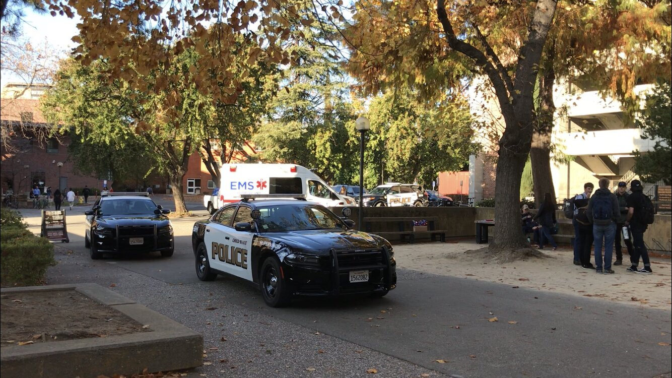 Chico State Police and Butte County EMS reposed to an incident between two students outside of Butte and Plumas halls on Tuesday. Photo credit: Angel Ortega