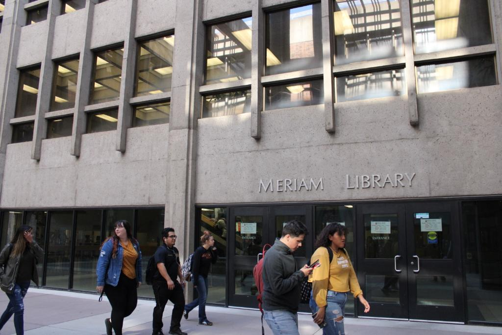 Student pass in front of Meriam Library. Photo credit: Julian Mendoza