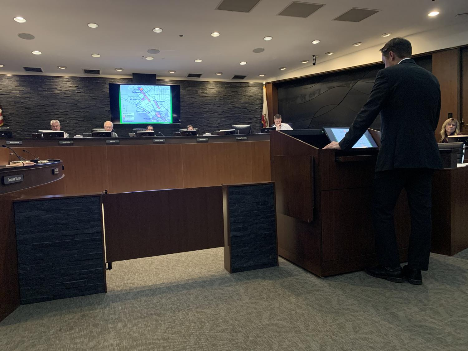 Senior Planner Mike Sawley giving presentation to Chico City Council on General Plan 2030 and Municipal Code. Photo credit: Angelina Mendez