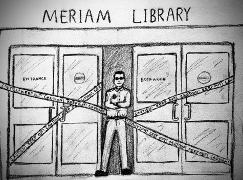 Police deny students information on library public safety. Photo credit: Melissa Joseph