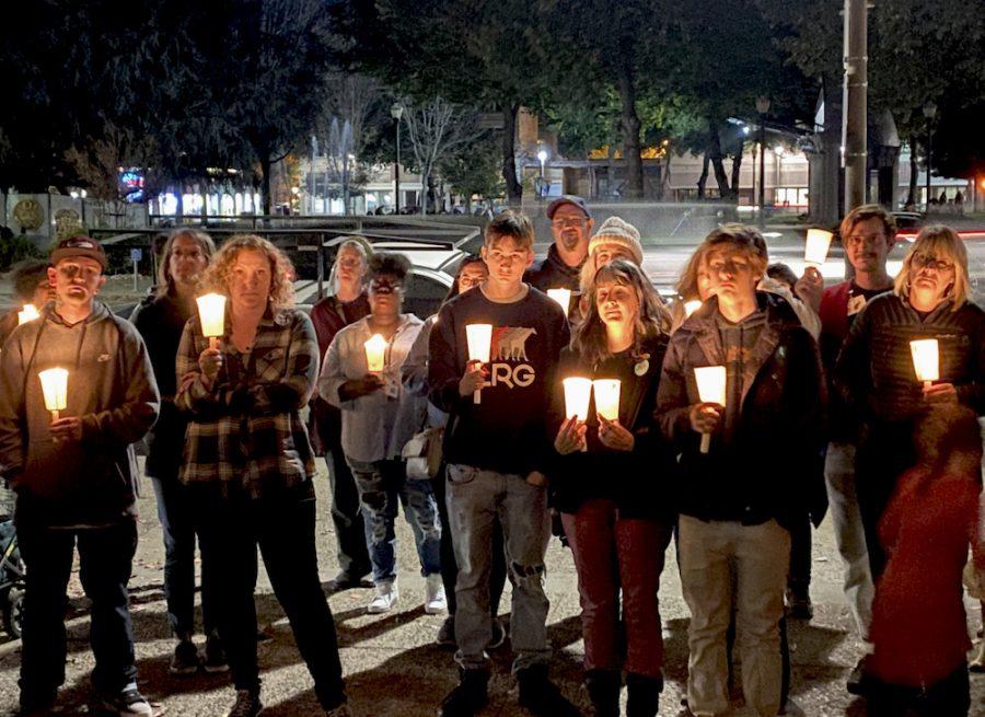 People congregate together and had a candlelit vigil. Photo credit: Hana Beaty