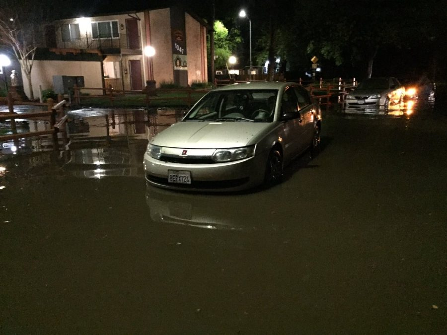 The rainstorm on April 2 led to flooding as seen here at W. Sacramento and Mechoopda. Photo credit: Nate Rettinger