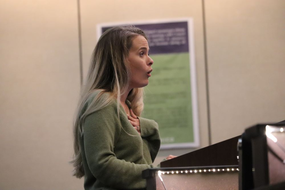 Meghan Kavenaugh is speaking to the city council and sharing her concerns about the ban. Photo credit: Mary Vogel