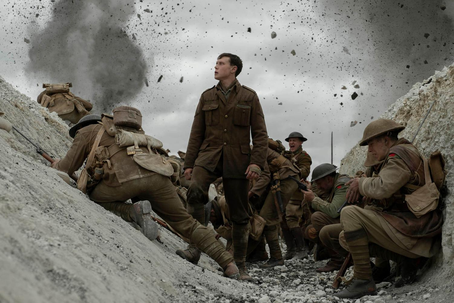 Lance Corporal William Schofield (George George MacKay) must complete a dire mission in delivery a message to call off an offensive attack and save hundreds of lives.  Courtesy of Universal Pictures
