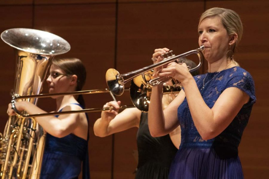 Mary+Bowden+playing+the+trumpet+at+Seraph+Brass%27+performance+at+the+Zinng+Recital+Hall+at+Chico+State.+