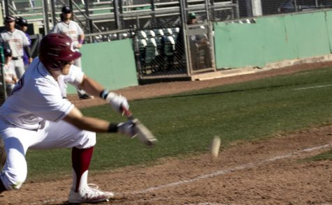 Chico State hitter bunts the ball down the third base line.