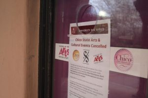A sign posted on the window of the Laxson Auditorium box office stating all Chico Performances, North State Symphony and School of the Arts shows have been canceled.