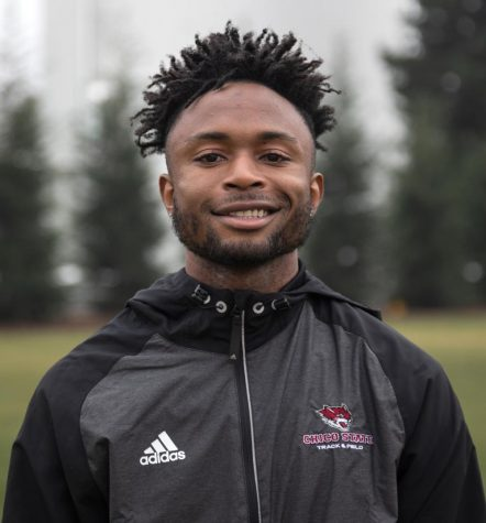 Calvin Igbanoi, a member of the Chico State Track & Field high jump team.