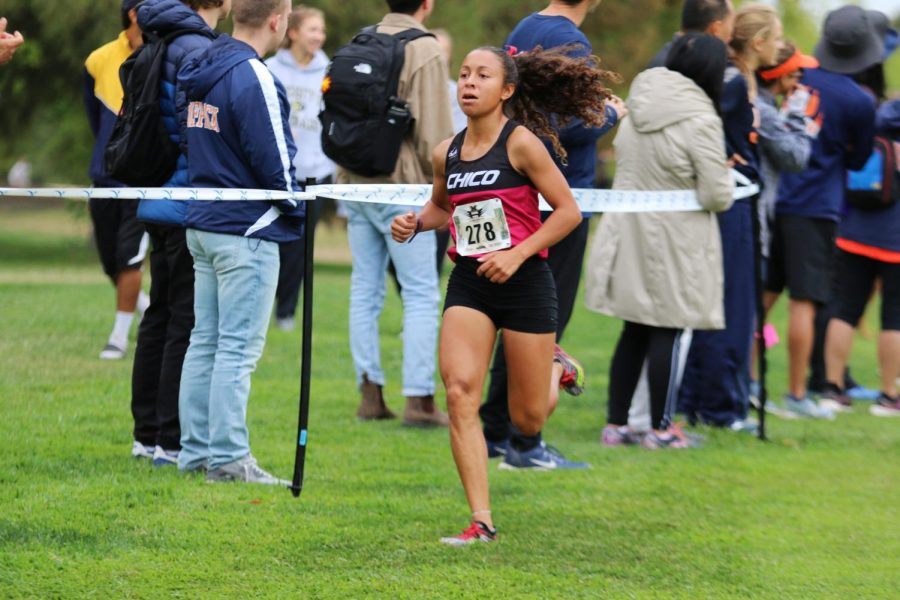 Destiny Everett, a member of the long distance Chico State Track & Field team competes in an event.
