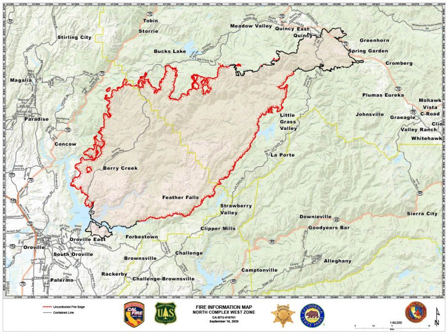 Cal Fire map of North Complex Fire, Sept. 16, 2020