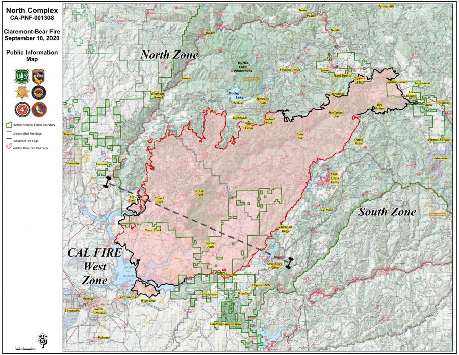 Cal Fire map of North Complex Fire on Sept. 18, 2020