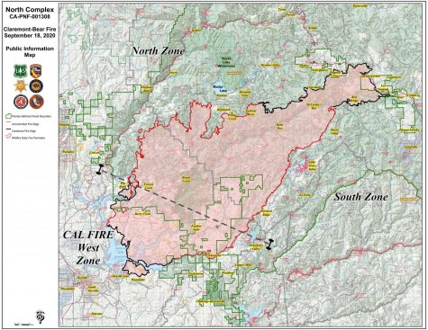 Cal Fire map of North Complex Fire, Sept. 18, 2020