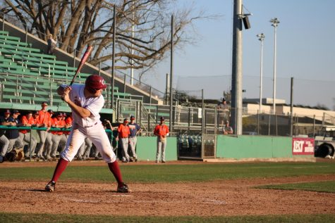 A photo of a Chico State baseball player on Feb. 18