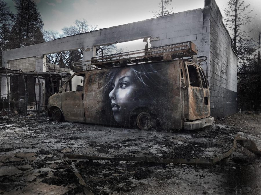 A+mural+titled+%22Unexpected+Hope%22+resides+on+the+side+of+the+burned+van+in+Paradise.
