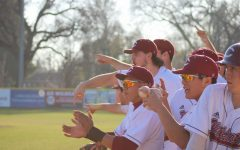 The Chico State baseball team celebrating a run being scored in the 2020 season. Photo credit:Julian Mendoza