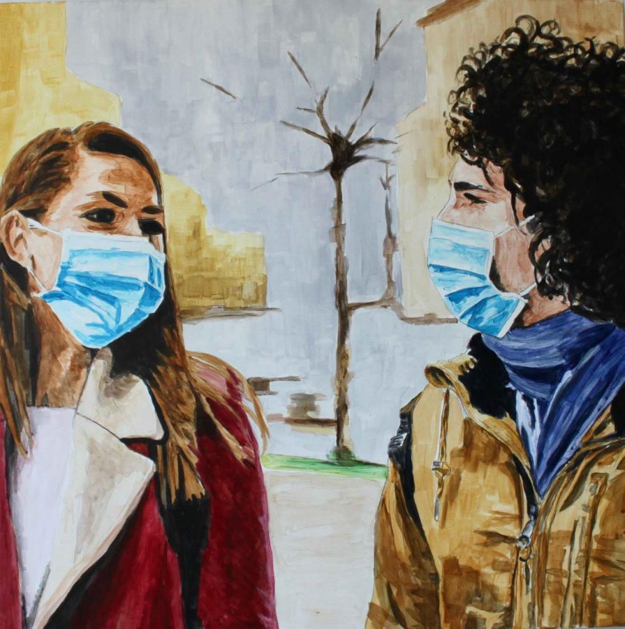 Another+painting+by+Arran+Harvey+that+depicts+the+everyday+wearing+of+masks.+Courtesy+of+the+Museum+of+Northern+California+Art.