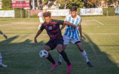 Chico State mens soccer player Noah Ross controls the ball on the field.