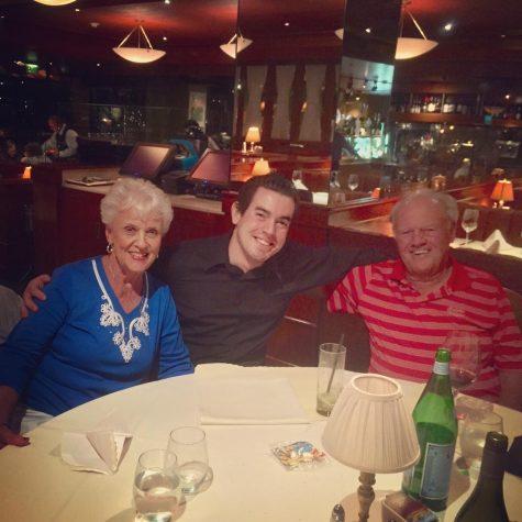 Alex Martin and his grandparents having dinner at Scott