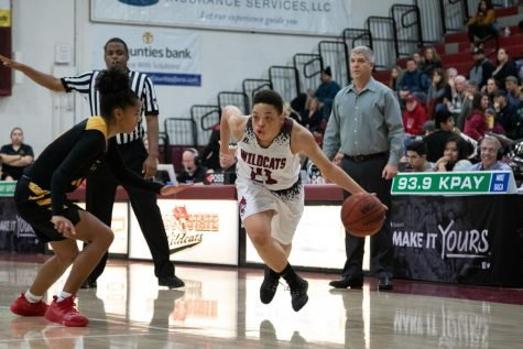 Shay Stark driving past a defender last season for the Wildcats.
