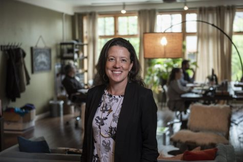 Alexa Benson-Valavanis, who served as president and CEO of The North Valley Community Foundation since July 2005, and engineered a new business model mobilizing social entrepreneurs and philanthropists locally and around the globe, is photographed at NVCF on Monday, April 4, 2019 in Chico, Calif.  (Jason Halley/University Photographer/CSU Chico)
