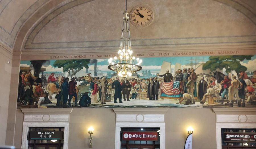 A mural in the Sacramento Valley train station.