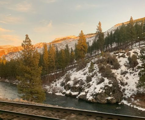 The Truckee River flowed right between the train tracks and the mountains.