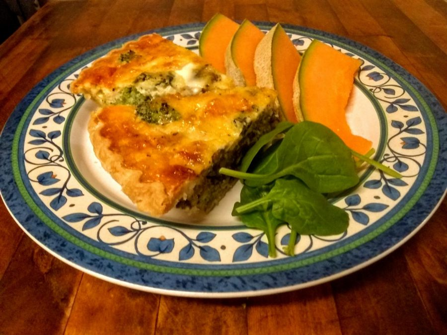 Springtime+quiche+calls+for+springtime+sides+-+light+salad+and+cantaloupe.+Photo+by+Ian+Hilton%2C+4%2F12%2F2021.