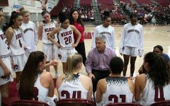 Chico State women's basketball coach Brian Fogel talks to his team during a basketball game in Chico.