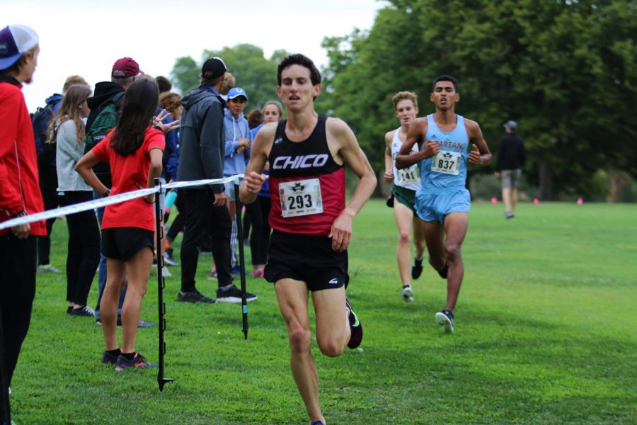Chico State's Wyatt Baxter runs during a race.
