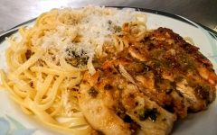Chicken piccata on garlic butter pasta, topped with lemon juice and parmesan. Photo by Ian Hilton, 5/6/2021.