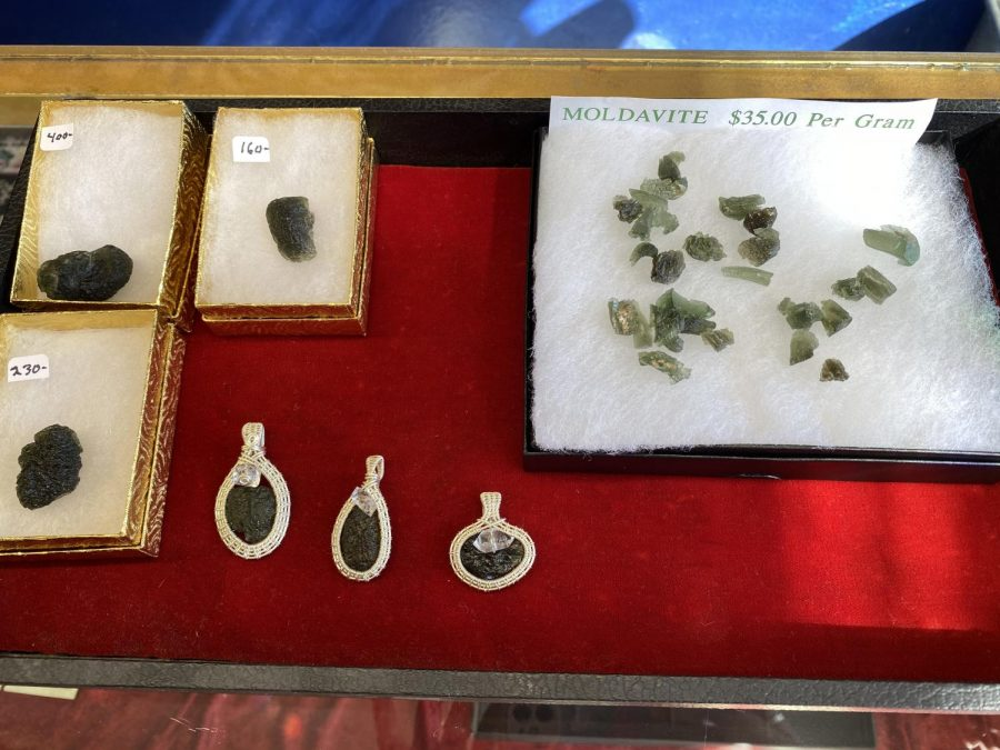 Moldavite+being+sold+at+Lotus+Flower+Imports+on+May+18%2C+2021