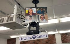 At Chico State, 131 classrooms are equipped with technology that enables the instructor to teach both in-person and virtually. This auto-tracking camera is priced at $2,500. Photo by Aldo Perez.
